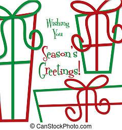 gåva, format., stinkande, vektor, julkort