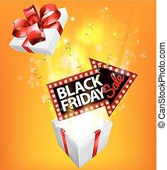 gåva, fredag, realisation signera, exploderande, svart