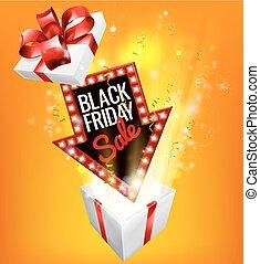 gåva, fredag, realisation signera, svart, spännande