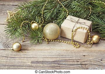 gåva, fura, gyllene, utrymme, grenverk, bakgrund, tabell., trä, gammal, boxas, jul, text., utsmyckningar