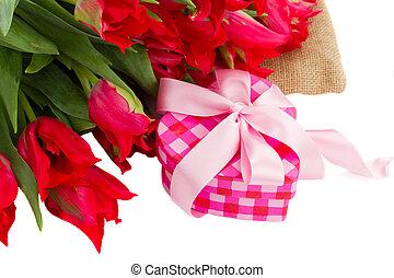 gåva, hög, tulpaner, boxas, röd