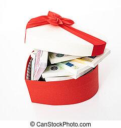 gåva, hjärta, bog, boxas, pengar