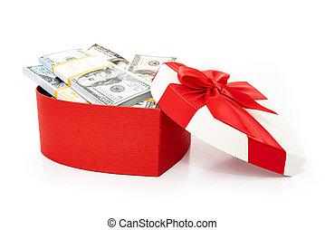 gåva, hjärta, dollars, boxas, isolerat, knippe, bog, vit
