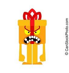 gåva, ilsket, dålig, illustration, vektor, färsk, jul, box., år