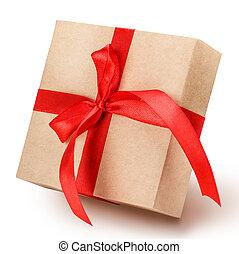 gåva, klippning, band, bana, bog, boxas, röd