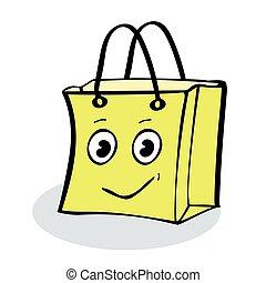 gåva, kolli, försäljning, gul, nöje, sjal