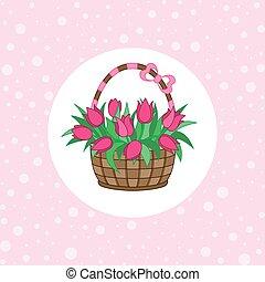 gåva, korg, med, tulpaner