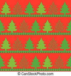 gåva, pattern., träd, illustration, emballering, vektor, design, stilig, grön, jul, röd