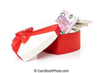 gåva, pengar boxa, hjärta, bog