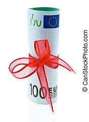 gåva, pengar, noteringen, bog, bank, euro