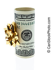 gåva, pengar, u.s., dollars, bog, noteringen, bank