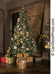 gåva, rum, träd, rutor, inre, jul, dekor
