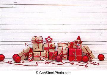 gåva, trä, bakgrund., rutor, utsmyckningar, vit jul
