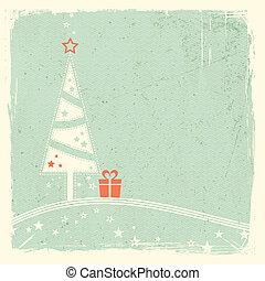 gåva, träd, jul, stjärnor