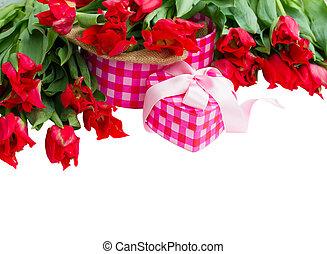 gåva, tulpaner, hög, boxas, röd