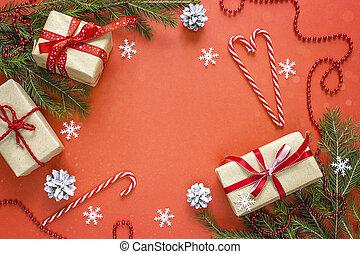 gåva, utrymme, text., bakgrund., rutor, utsmyckningar, jul, röd
