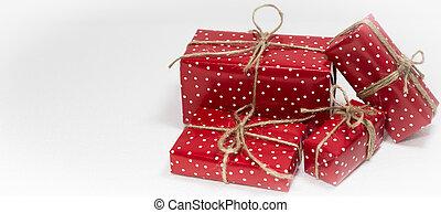gåva, utrymme, text, rutor, bakgrund, vit jul, tom