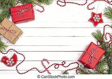 gåva, utrymme, trä bågar, text., lov, bakgrund., rutor, utsmyckningar, vit jul