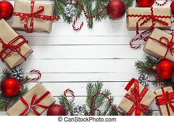 gåva, utrymme, trä, text., bakgrund., rutor, utsmyckningar, vit jul