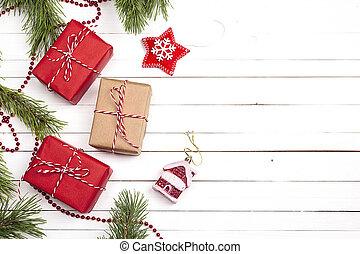 gåva, utrymme, trä, text., lov, bakgrund., rutor, utsmyckningar, vit jul