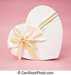 gåva, yta, rosa, boxas, hjärta, band