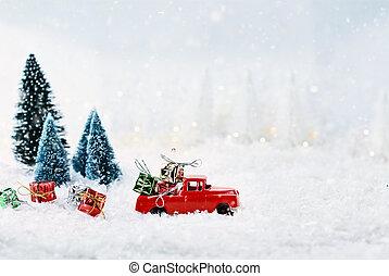 gåvor, årgång, jul, lastbil, leksak