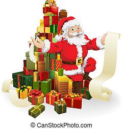 gåvor, lista, jultomten