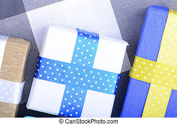gåvor, lysande, remsor, inbjudan, helgdag, kort