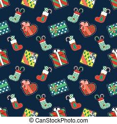 gåvor, mönster, jul, seamless