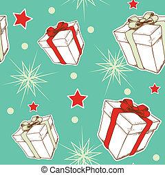 gåvor, mönster, seamless, jul
