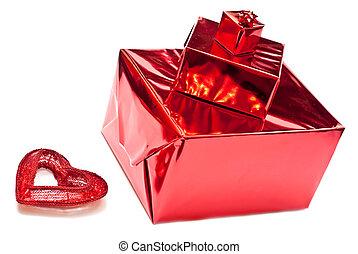 gåvor, rutor, och, jul, leksak