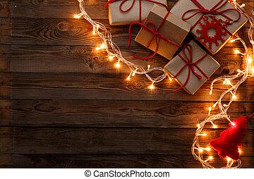 gåvor, rutor, tom, bakgrund