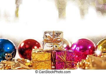 gåvor, struntsak, bakgrund, jul