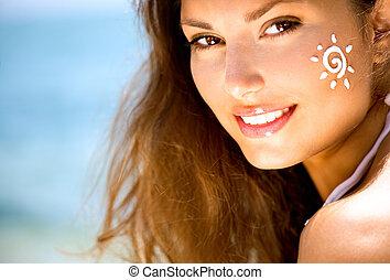gælde, hende, skønhed, sol, face., garvning, pige, garve, ...
