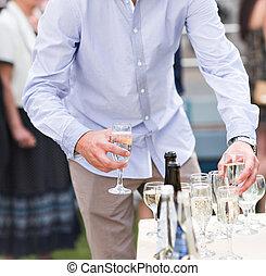 gæst, glas, closeup, holde, bryllup, champagne