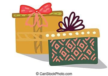 géant, boîtes, cadeau, deux