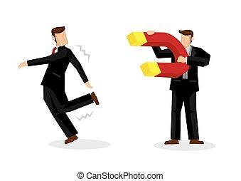 géant, embauche, company., ou, sien, utilisation, attirer, concept, homme affaires, aimant, talents., talent, recrutement