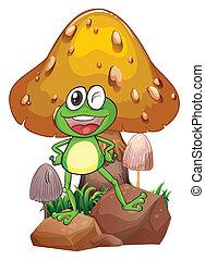géant, grenouille, champignon, sourire