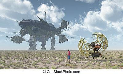 géant, machine, vaisseau spatial, temps, voyageur, paysage