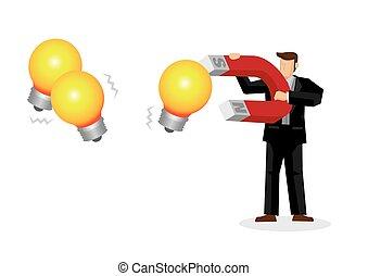 géant, nouveau, aimant, utilisation, obtenir, vecteur, concept, homme affaires, ideas., innovation, illustration., creativity.