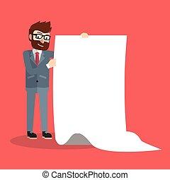 géant, papier, business, tenue, homme
