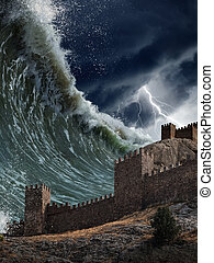géant, vieux, tsunami, vagues, forteresse, briser