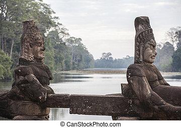 géants, dans, portail, de, thom angkor