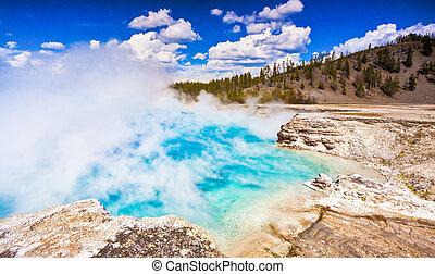 géiser, nacional, excelsior, parque, yellowstone, cráter