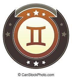 gémeaux, zodiaque, impérial, bouton