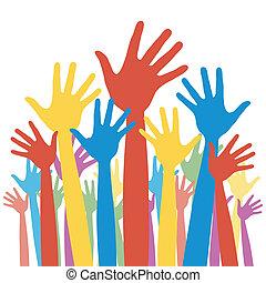 général, élection, vote, hands.