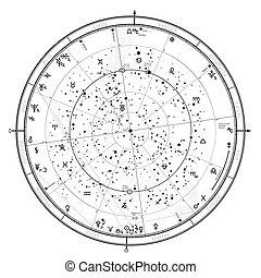 général, '2020., horoscope, astrologique, universel, céleste, global, carte, nord, hemisphere.