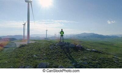 générateur, générateurs, turbine, vent, bourdon, centrale ...