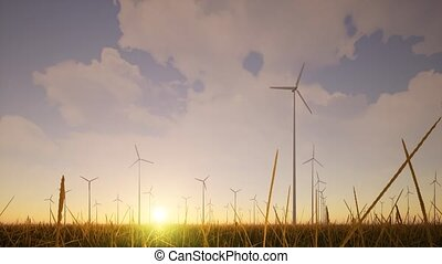 générateurs, ferme vent, récupération, concept, ambiant, herbe, technologie