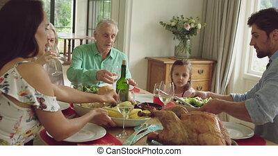 génération, famille, trois, ensemble, manger